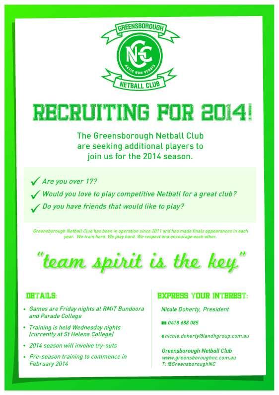 GNC 2014 player recruitment poster